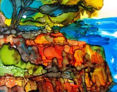 """Lonely pine tree 2 - a landscape in alcohol ink - 7"""" x 9"""""""