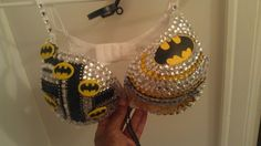 Holy Cow Batman Rhinestone bra with logo  custom made to order on Etsy, $65.00