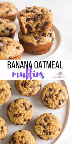 These Banana Oatmeal Muffins are SO moist, made with soaked oats baked right in! Made healthier with Greek yogurt, applesauce and whole wheat flour. Banana Yogurt Muffins, Healthy Banana Muffins, Low Fat Muffins, Muffin Recipes, Baking Recipes, Dessert Recipes, Desserts, Pavlova, Applesauce Muffins