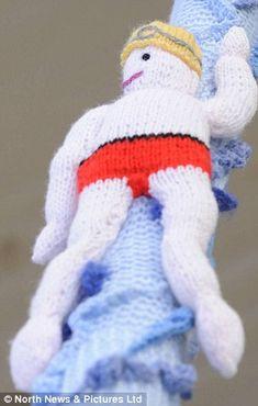 Swimmer - Olympic yarn bombing ins Saltburn, North Yorkshire.