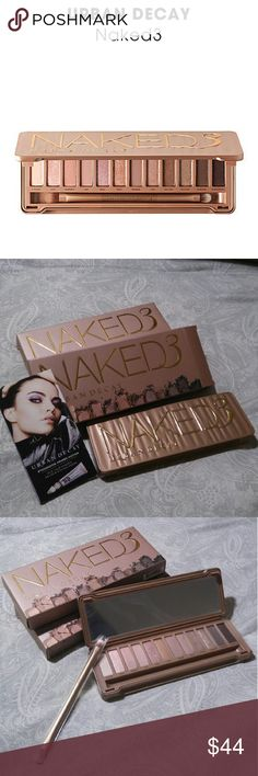 *NEW* URBAN DECAY Naked3 THREE Eyeshadow Palette ***BRAND NEW w/ BOX & WRAPPING***  What it is: A mirrored compact packed with a dozen never-before-seen rose-hued neutrals and a double-ended brush.  What it does: Naked3 debuts 12 insanely beautiful rose-hued neutrals in an impressive range of shades from pale, shimmery pink to deep black matte with red microglitter in ultrasmooth matte, pearl, and glimmering metallic finishes. The palette also includes four sample packettes of Urban Decay's…