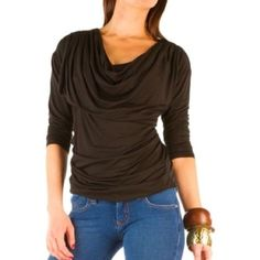 Bordeaux Black Cowl Long Sleeve Top-Anthropologie This Bordeaux Black Cowl Long Sleeve Top from Anthropologie is made of 90% modal and 10% silk. The top drapes at the neckline and gathers on one side for a flattering fit. Anthropologie Tops Tees - Long Sleeve