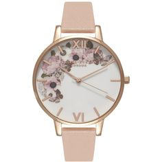 Olivia Burton Enchanted Garden Watch - Dusty Pink & Rose Gold ($110) ❤ liked on Polyvore featuring jewelry, watches, rose gold wrist watch, floral jewelry, dial watches, rose gold jewelry and etched jewelry