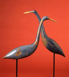 Pair of blue herons decoys  Probably Connecticut, circa 1870  Private collection