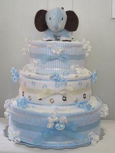 Elephant Diaper Cake 3 Tier Blue Baby Boy by LaurasCraft on Etsy https://www.etsy.com/listing/102976335/elephant-diaper-cake-3-tier-blue-baby