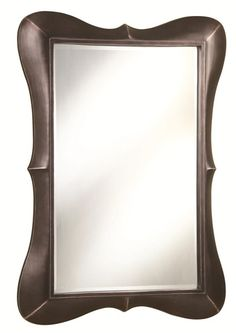 Modern Style Wall Mirror With Unique Frame In Dark Brown Finish