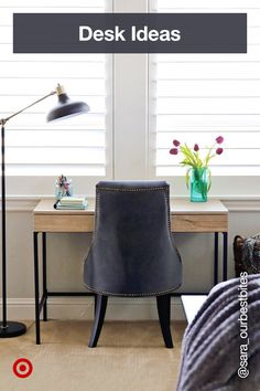 Find desk ideas organization for home offices or kids' rooms, from a floating computer desk to a DIY or writing corner. Small Home Offices, Home Office Space, Home Office Design, Home Office Furniture, Home Living Room, Apartment Living, Living Room Decor, Chic Office Decor, Guest Bedroom Office
