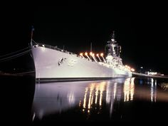 The Battleship North Carolina at night. Located in the Cape Fear River, across from Downtown Wilmington.