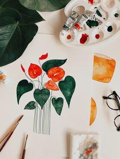 """Die Flamingopflanze ist seit längerem meine """"kreative Wegbegleiterin"""". Deshalb widme ich ihr eine eigene Watercolor Design Kollektion. Du kannst das Design z.B. @redbubble auf zahlreichen Wohnaccessoires, Papeterie-Produkten, als Art Print, Galeriedruck oder sogar auf Taschen u.v.m. shoppen - Have fun!"""