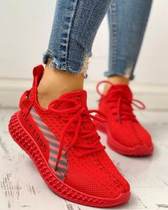 Lace-Up Breathable Casual Sneakers - Mode Web Zapatillas Casual, Tenis Casual, Casual Sneakers, Sneakers Fashion, Fashion Shoes, Fashion Clothes, Fashion Fashion, Casual Shoes, Fashion Women