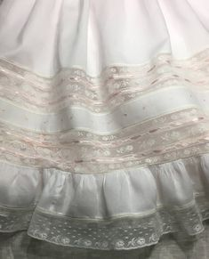 French Handsewn Maline Lace Heirloom Gown with Slip, Christening Dedication or Baptism Gown, Portrait Gown, Baby Christening Gowns, Baptism Dress, Sewing Lace, Hand Sewing, Little Girl Dresses, Girls Dresses, Gown Pictures, Baby Embroidery, Baby Gown