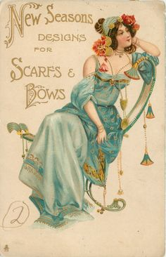 1904 NEW SEASONS DESIGNS FOR SCARFS BOWS, seated girl in blue, many ornaments