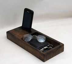 Docking station for all your pocket treasures. Available finish options see photo number 5 Best storage item. Best organizer.-Reclaimed wood The back portion of the do... #nightstand #iphone