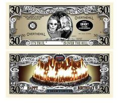 10 Over The Hill 60 Birthday Novelty Dollar Bills Birthday Message For Friend, Mom Birthday Quotes, Birthday Wishes For Sister, Happy 30th Birthday, Birthday Greetings, Gag Gifts, Funny Gifts, Weird Stuff On Amazon, Birthday Background