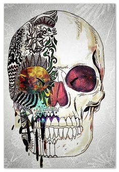 Skull art/tattoo maybe? Skull Tattoos, Makeup Tattoos, Skull Design, Skull And Bones, Art Plastique, Dark Art, Painting & Drawing, Body Painting, Amazing Art