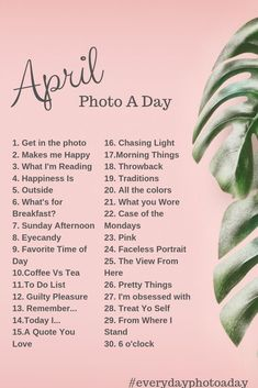 April Photo a Day Challenge 2019 - photography tips Photography Jobs, Photography Challenge, Photography Basics, Photography Lessons, Photography Projects, Creative Photography, Digital Photography, Amazing Photography, Photography Backdrops