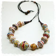 paper bead tribal necklace by rocksandpaperswans on Etsy