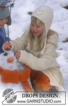 Felted DROPS Hat with plaits in Alaska and Eskimo, and Scarf in Alaska ~ DROPS Design sizes 3 to 9 years Baby Hat Knitting Pattern, Knitting Patterns Free, Free Knitting, Baby Knitting, Free Pattern, Crochet Patterns, Drops Design, Crochet Baby Clothes, Sewing Clothes