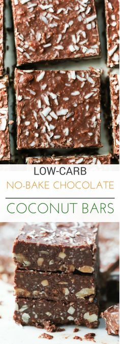 These Low Carb No-Bake Chocolate Coconut Bars are made with walnuts, cashews, coconut, natural peanut butter and dark chocolate. It's gluten-free, paleo and very delicious and this bar recipe will become your favourite of all the low carb snacks! Keto Desserts, Keto Snacks, Chocolate Desserts, Snack Recipes, Dessert Recipes, Chocolate Coconut Bars, Bar Recipes, Chocolate Cake, Desert Recipes
