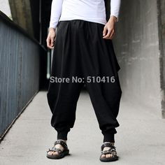Men Women Japanese Samurai Style Boho Casual Low Drop Crotch Loose Fit Harem Baggy Hakama Capri Cropped Linen Pants Trousers