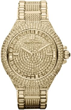 Michael Kors Mid-Size Golden Stainless Steel Camille Three-Hand Glitz Watch on shopstyle.com
