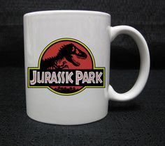 Jurassic Park Tirex Logo white mug  cup two sides ceramic 11oz
