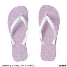 Lilac Paisley Floral Flip Flops