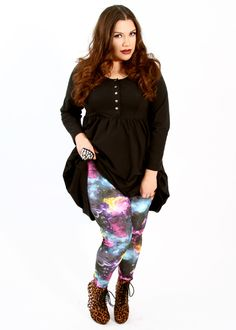 I just ordered these leggings - I AM EXCITE! // Domino Dollhouse - Plus Size Clothing: Basic Leggings in Galaxy