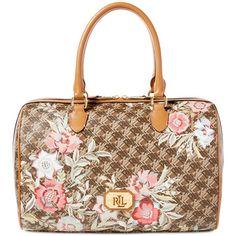Lauren Ralph Lauren Dobson Large Floral Barrel Satchel (€185) ❤ liked on Polyvore featuring bags, handbags, brown vine floral print, white handbags, vegan handbags, floral handbags, tote purses and floral purse
