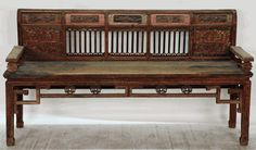 Antique Asian Furniture: Antique Chinese Carved Bench from China #silkroadcollection