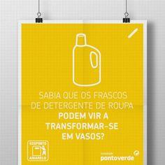 """Sabia que os velhos frascos de detergente da roupa se podem transformar em algo como vasos?  O """"milagre"""" começa consigo: coloque sempre o plástico no ecoponto amarelo!"""