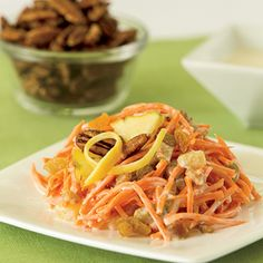 Get the flavors of carrot cake with pineapple, raisins, dates and pecans in this Carrot Cake Salad recipe.