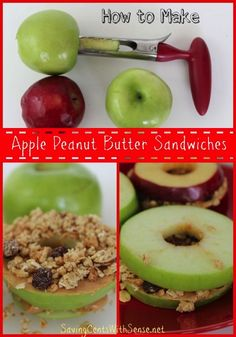Apple Peanut Butter Sandwiches - a fun #backtoschool snack idea! #recipe