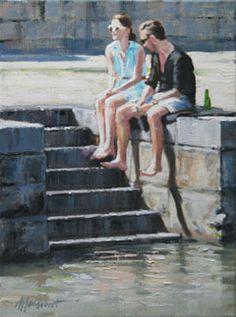 Richard van Mensvoort, Aan de Gracht 11, Olieverf op doek in baklijst, 40x30 cm, €.1150,-