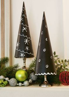 DIY Chalkboard Paper Maché Trees