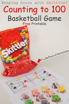 Keeping Score with Skittles! Counting to 100 Basketball Game Free Printable | A Little Pinch of Perfect