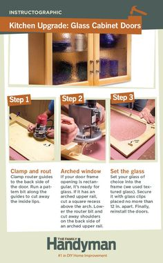 DIY Tutorial: How to Convert Wood Cabinet Doors to Glass Panels. Upgrade your kitchen cabinets by swapping wood door panels for glass panels in your choice of color and texture.