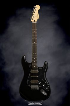 Fender Blacktop Stratocaster HSH - Black | Sweetwater.com | Solidbody Electric Guitar with Alder Body, Maple Neck, Rosewood Fingerboard, 2 x Humbucking Pickups, and 1 x Single-coil Pickup - Black