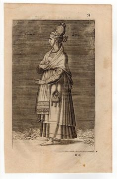 GREECE SCIO COSTUME OF CHIOS COPPER ENGRAVING BY CHALCONDILE 1662 No.2
