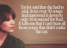 She should come out with a RED 2.0 with the rest of the songs,... Just saying!!! <3