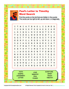 Paul's Letter to Timothy Word Search