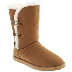 Old Navy Sherpa Lined Cozy Boots ($37) ❤ liked on Polyvore featuring shoes, boots, brown, mid-calf boots, rubber sole boots, faux boots, faux fur lined boots and mid boots