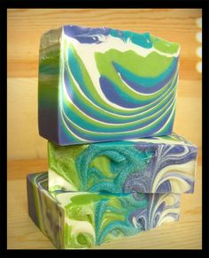 Art Deco Olive Oil Soap -- With shea butter, cocoa butter, silk -- lime green aqua lavender swirled soap via Etsy Savon Soap, Olive Oil Soap, Homemade Soap Recipes, Bath Soap, Soap Packaging, Cold Process Soap, Home Made Soap, Handmade Soaps, Craft Party