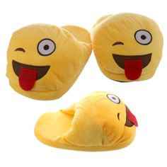 One size fits all Tongue Out Open Back Emotive Pair of Unisex Slippers  Made from polyester and cotton  ​Dimensions: Length 27cm Width 14cm Height 12cm  ​Delivery prices available on checkout