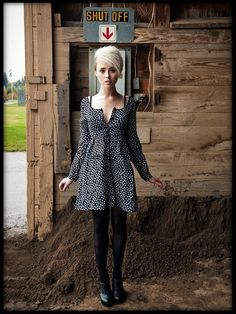 H&M Dress, Dkny Tights, Jeffrey Campbell Booties - Shut off - Alysha Nett