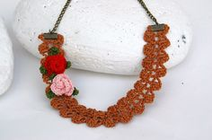 Crochet necklace  Brown necklace  With crochet by lindapaula Collar de ganchillo