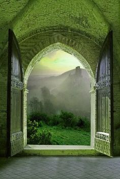 bluepueblo: Arched Doorway, Tuscany, Italy photo via underthemountain -- What events occurred here? The thickness of the walls, the solidity of the door, the ruined castle in the distance. Croissy Sur Seine, Arch Doorway, Entrance Gates, Photos Voyages, Window View, Through The Window, Tuscany Italy, Venice Italy, Sorrento Italy