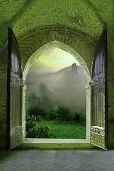 Beautiful green doorway, Gothic arch