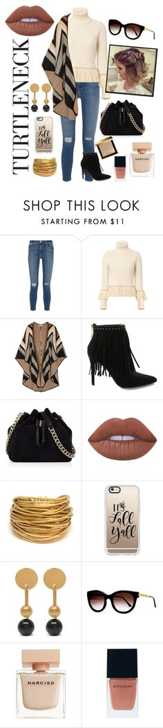 """Turtleneck"" by hollybgdesigns ❤ liked on Polyvore featuring Frame Denim, Jonathan Simkhai, Mara Hoffman, Pierre Balmain, Karen Millen, Lime Crime, Black & Sigi, Casetify, Mulberry and Thierry Lasry"