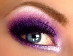 Bright purple eye make up